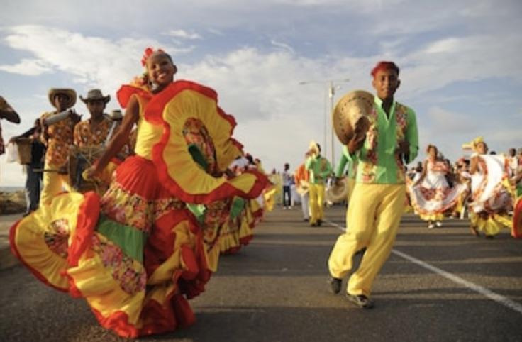 Celebration in the street in Cartagena