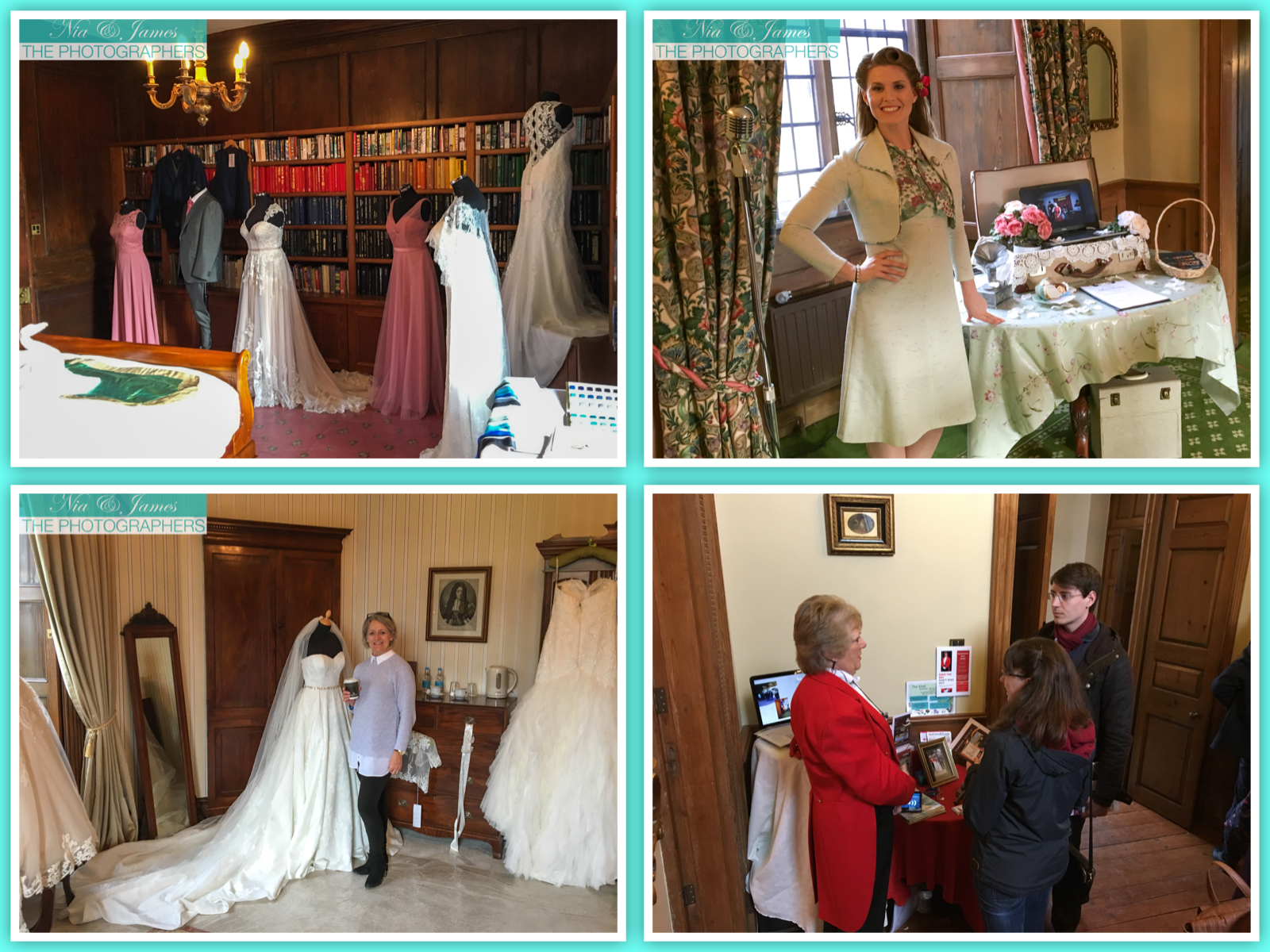 A few of the great wedding suppliers who were exhibiting alongside in the Manor House. Nia & James the photographers at Hockwold Hall Wedding Fayre. Clockwise from top left: Newmarket basted bridal shop - Bride-all , Vintage singer & childrens story teller  Alex Shows , Rosalind Hamill, unique female  Toastmaster , Wedding dress supplier  Just a Day Bridal.