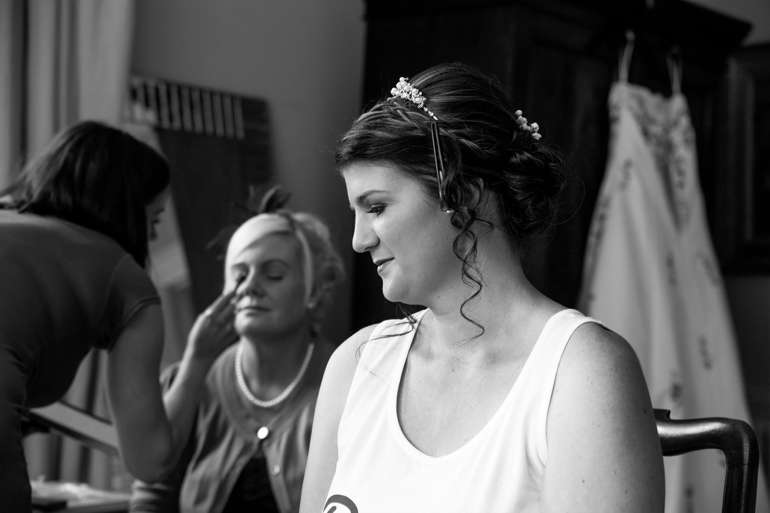 The wedding morning Hair & Make Up before the wedding ceremony at Chippenham Park Estate, Cambridgeshire.