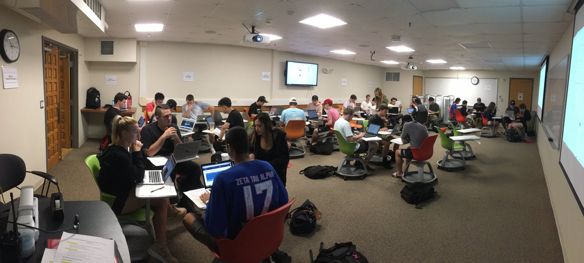 Here are students in the Fall 2018 Informatics in Disasters and Emergency Response class manning a Remote Emergency Operations Center for Hurricane Florence. They produced a rich 22 page situation report covering everything from critical infrastructure to pet shelters.