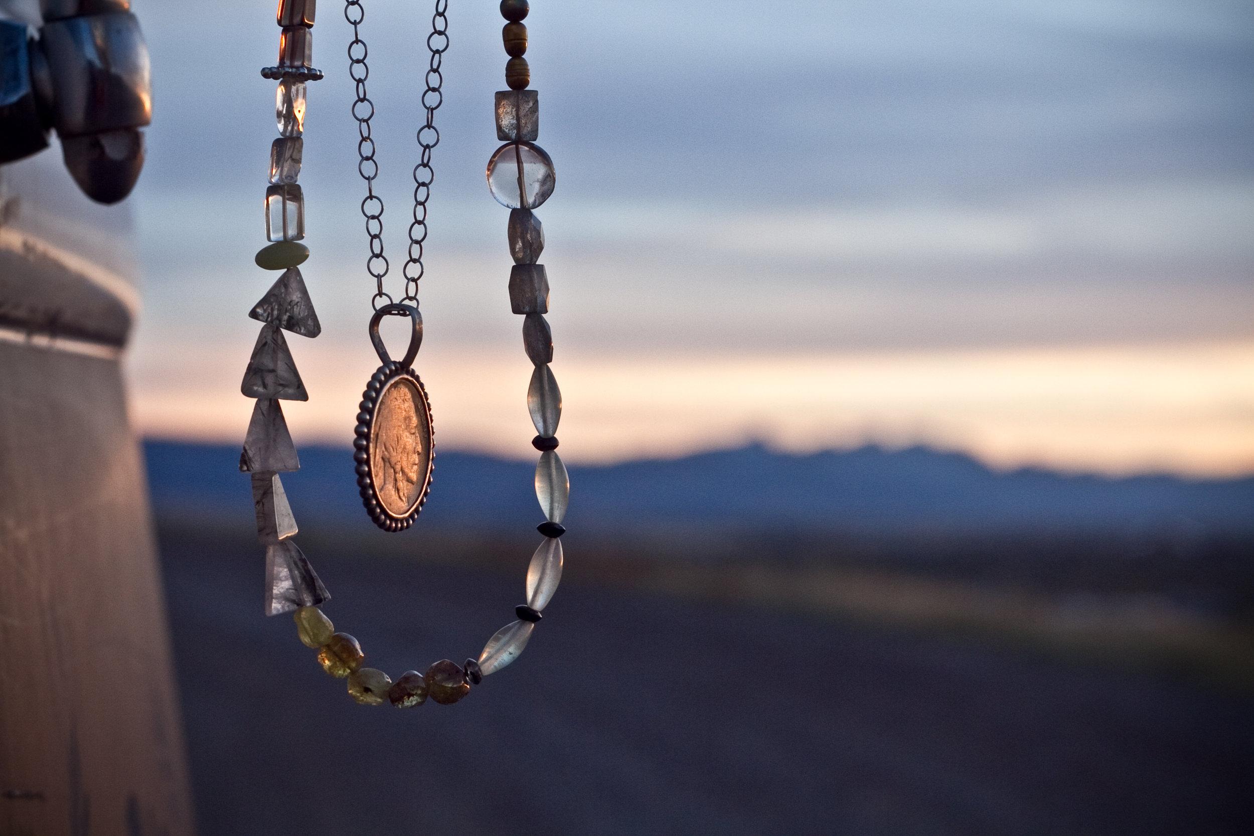 Buffalo nickel necklace handmade jewelry montana