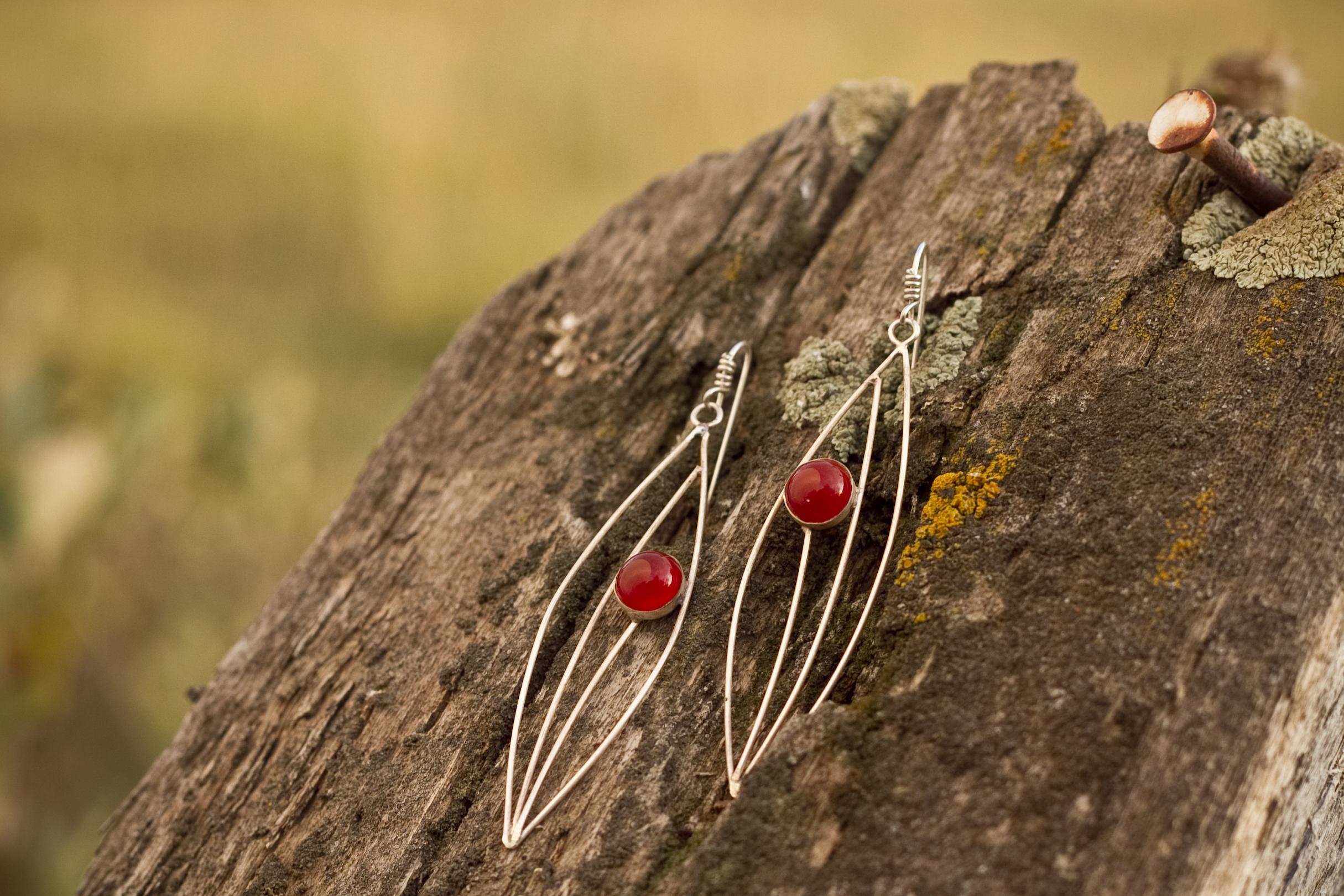 Silver and carnealian earrings handmade jewelry montana