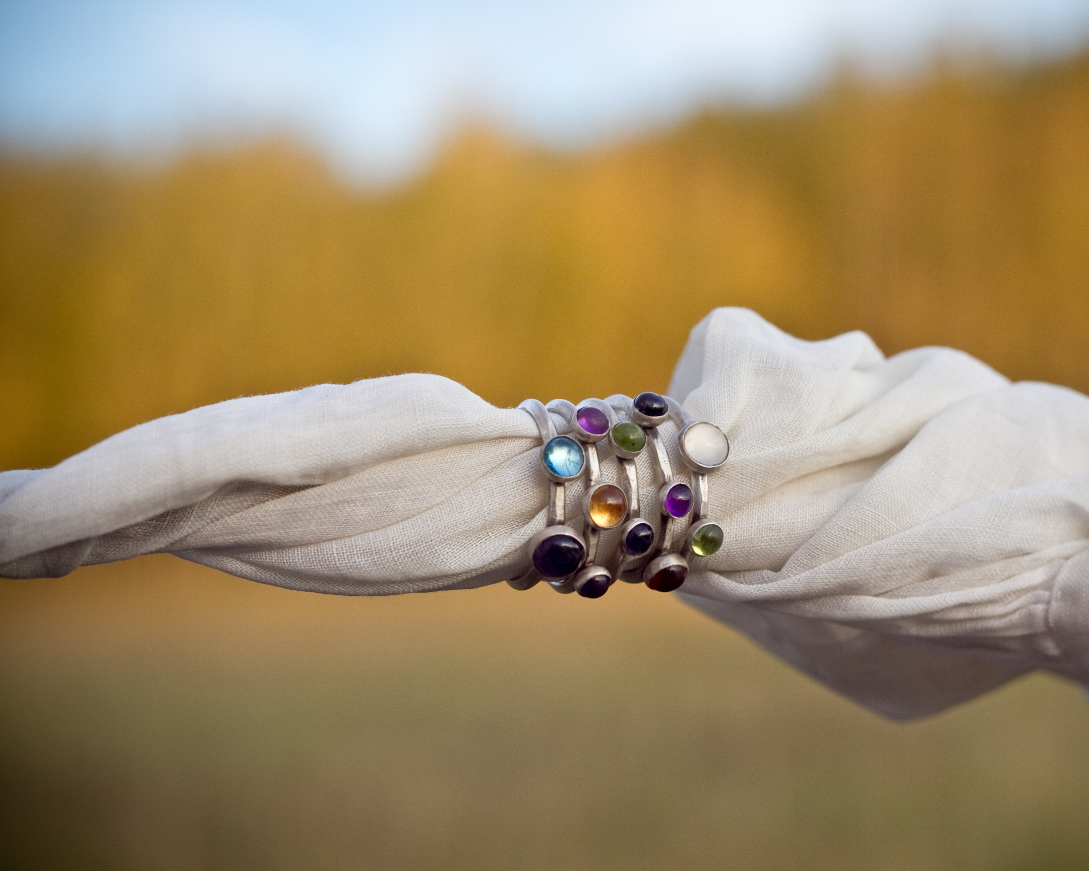 Stackable handmade gemstone silver rings handmade jewelry montana