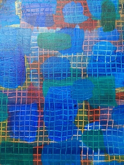 Paul Klee-inspired acrylic on canvas, with focus on color, texture and line.