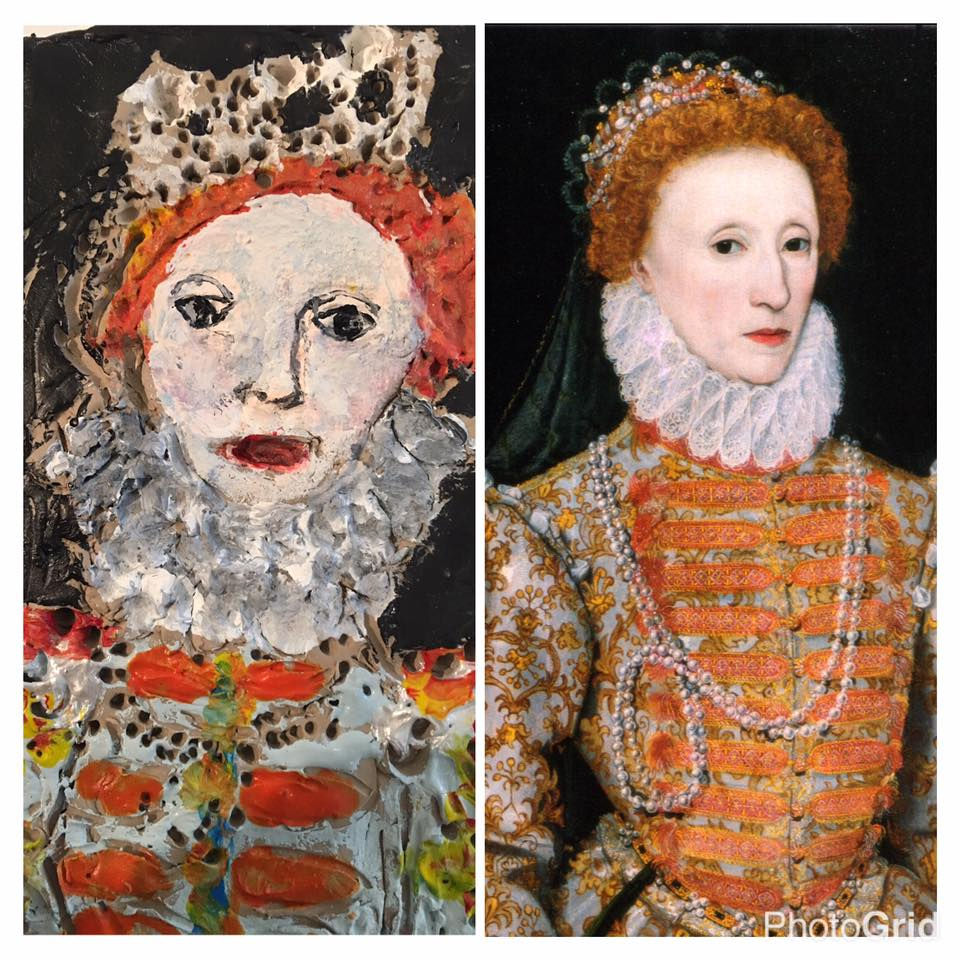 Gorgeous Elizabeth I clay slab rendering of the original by portrait by an unknown Dutch artist painted around 1575