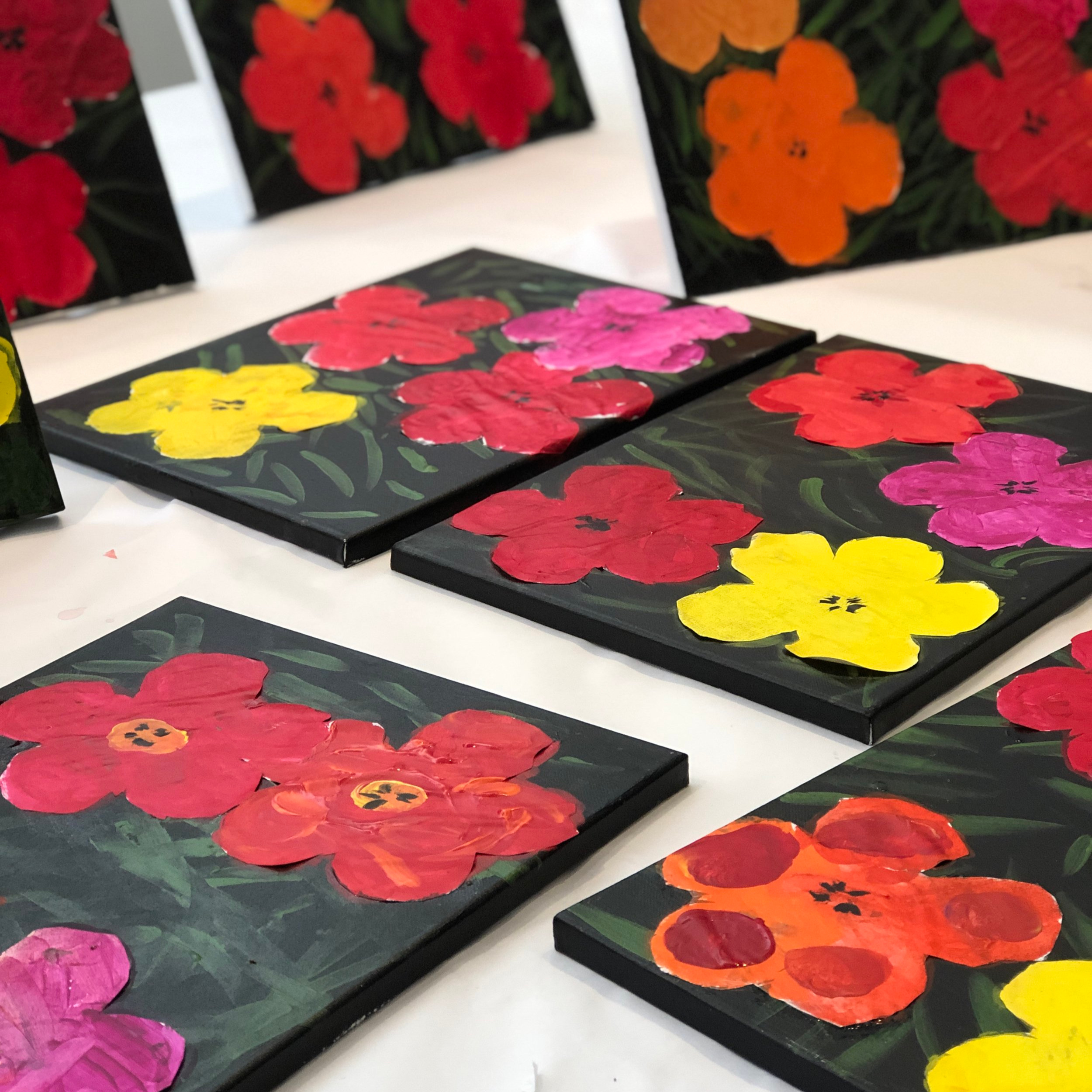 Andy Warhol-inspired flowers.