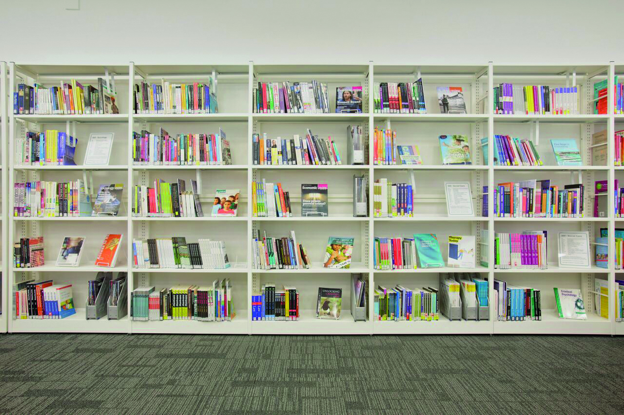 Wall mounted single sided library shelving