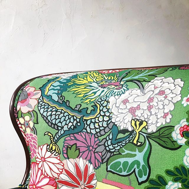 """Our client """"adopted"""" this curbside chair (from our basement). It was shamelessly found by us on the curb. We gave it a bright future! @schumacher1889 #chaingmaidragon Make sure to scroll through for a great redemptive visual. #circulardesign #nowisfound"""