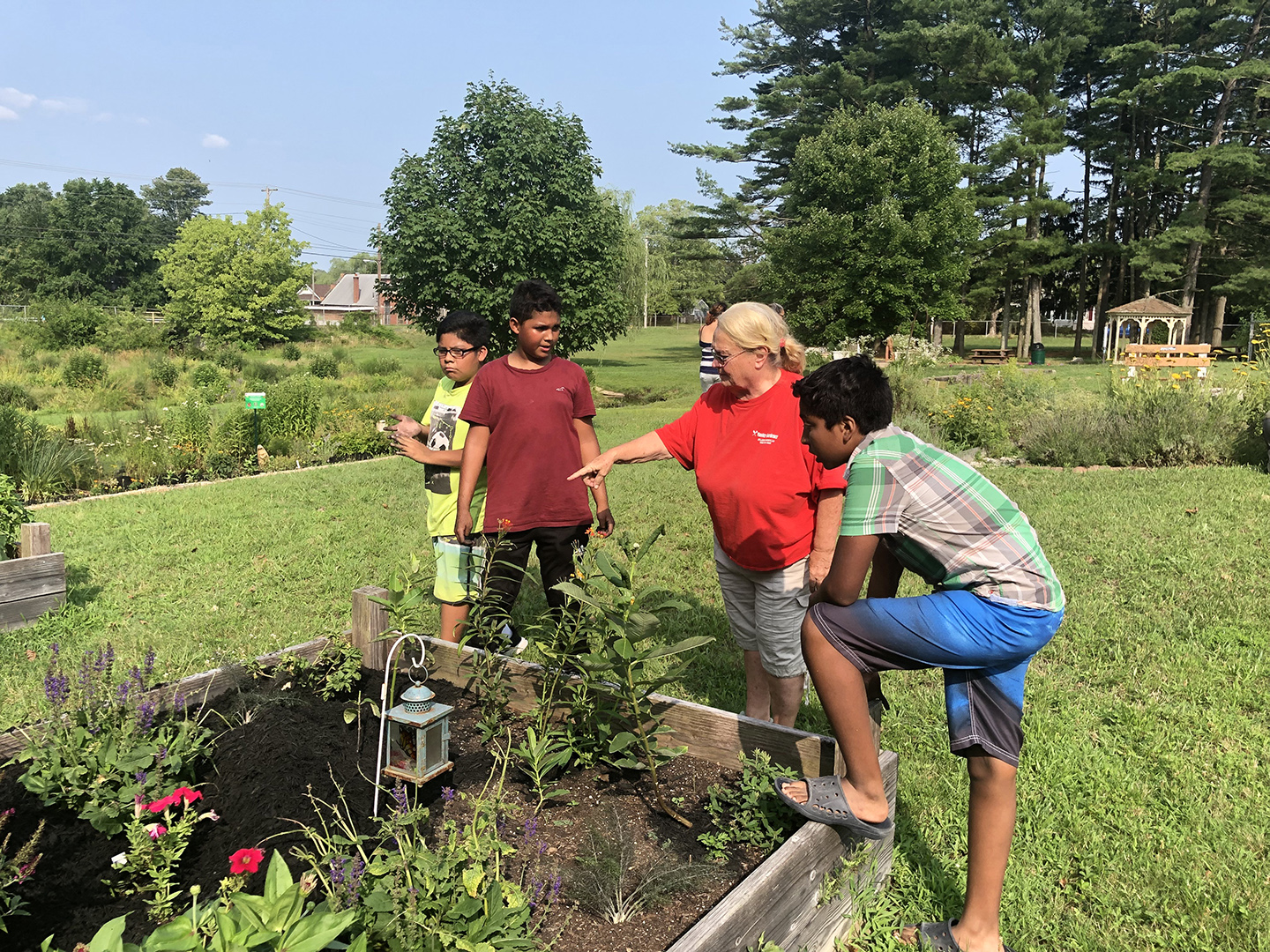 Master gardeners work with students at Peace Pilgrim Park