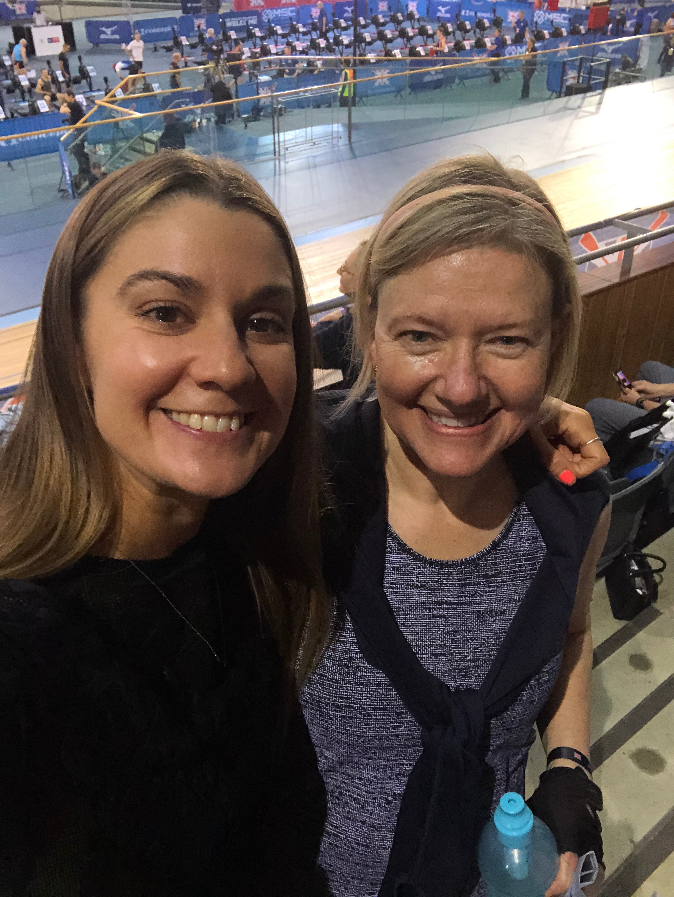Grace Brown cheering on client Carol at the British Indoor Rowing Championships
