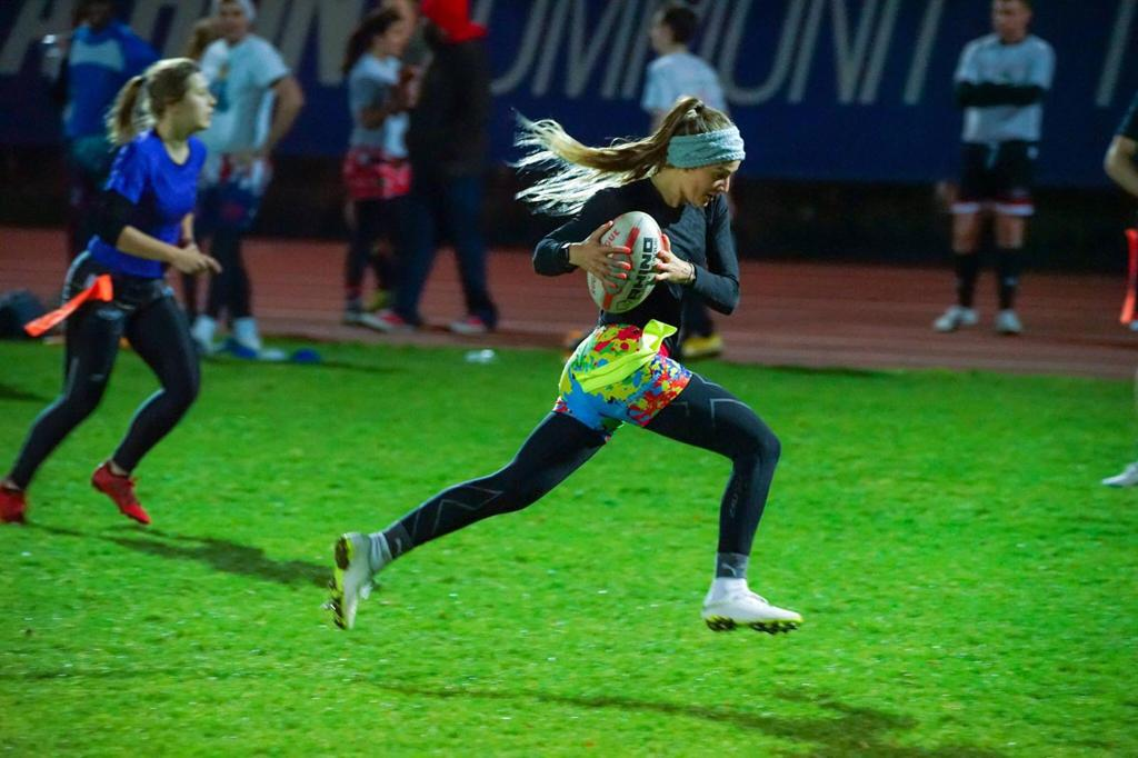 Grace Brown off on a sprint for Try Time playing Tag Rugby | Grace Brown Fitness London