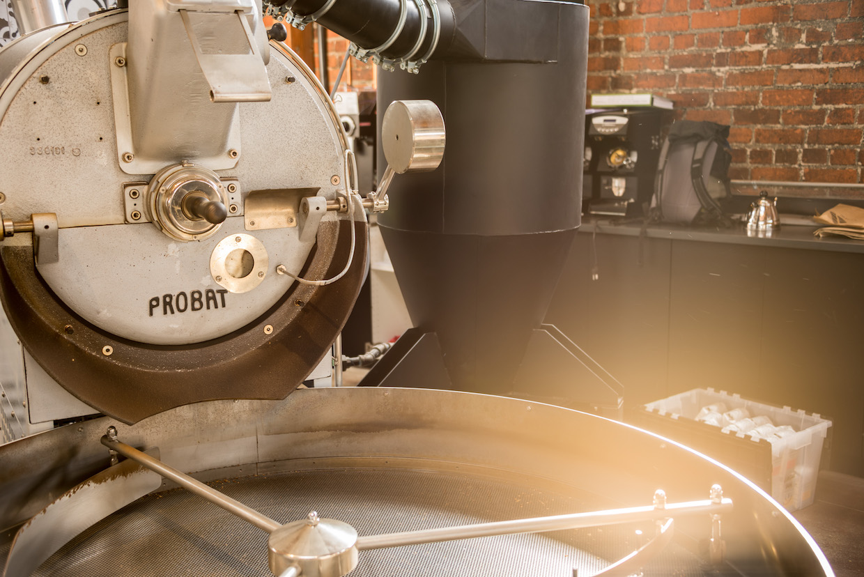 The Probat UG-22 called Zeus at Handlebar Coffee Roasters' new Santa Barbara, California, location on De la Vina | Image: Wanderborn.