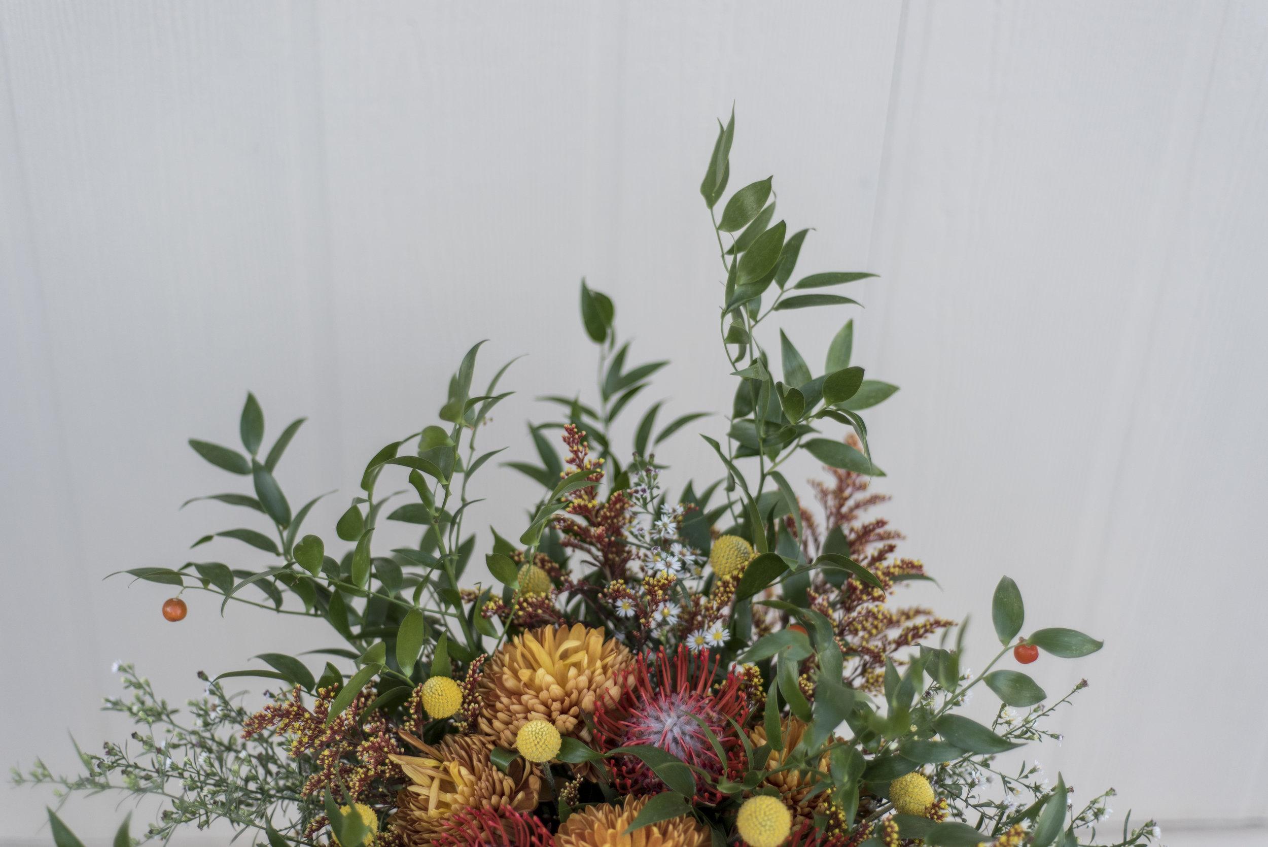 wild overgrown boho flower arrangement for intimate elopement columbia south carolina.jpg