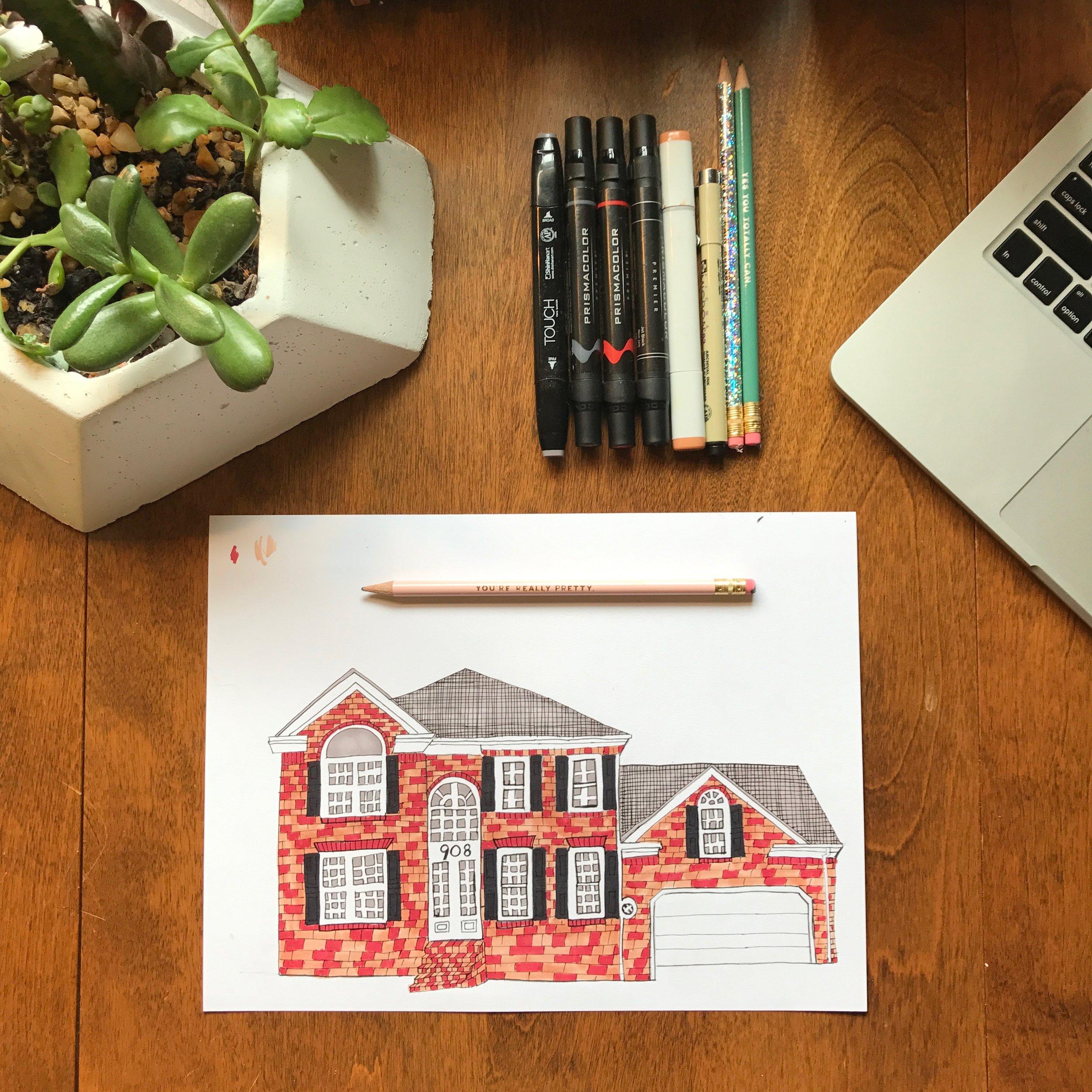 Custom House & Estate Illustrations     #tessadrawshouses