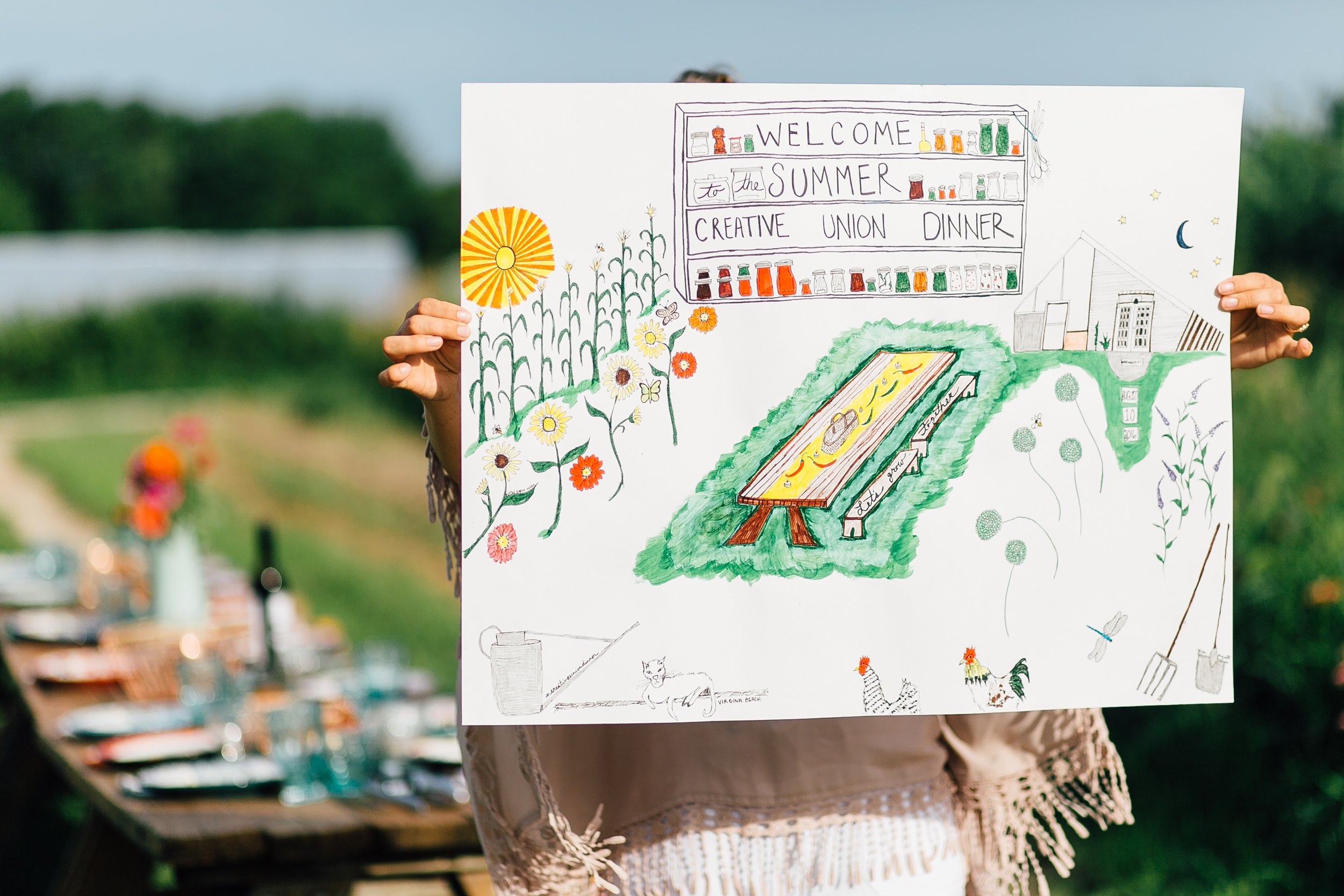 August 10, 2016Creative Union DinnerNew Earth FarmIllustration -