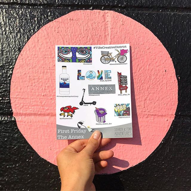 Search & Find Adventures are BACK WITH A BANG!  Join us tonight for First Friday in @thevibecreativedistrict to explore the neighborhood, swing by @theannexvb to pick up your Search & Find card. . . . . . #searchandfind🔎 #theannexvb #thevibecreativedistrict #firstfriday #tessadrawsthings #funthingstodo #fun #illustratoroninstagram #ipadpro #adobeillustrator #adobedraw #visitvabeach #explore #adventure #neighborhoodfun #whynot #getoutside