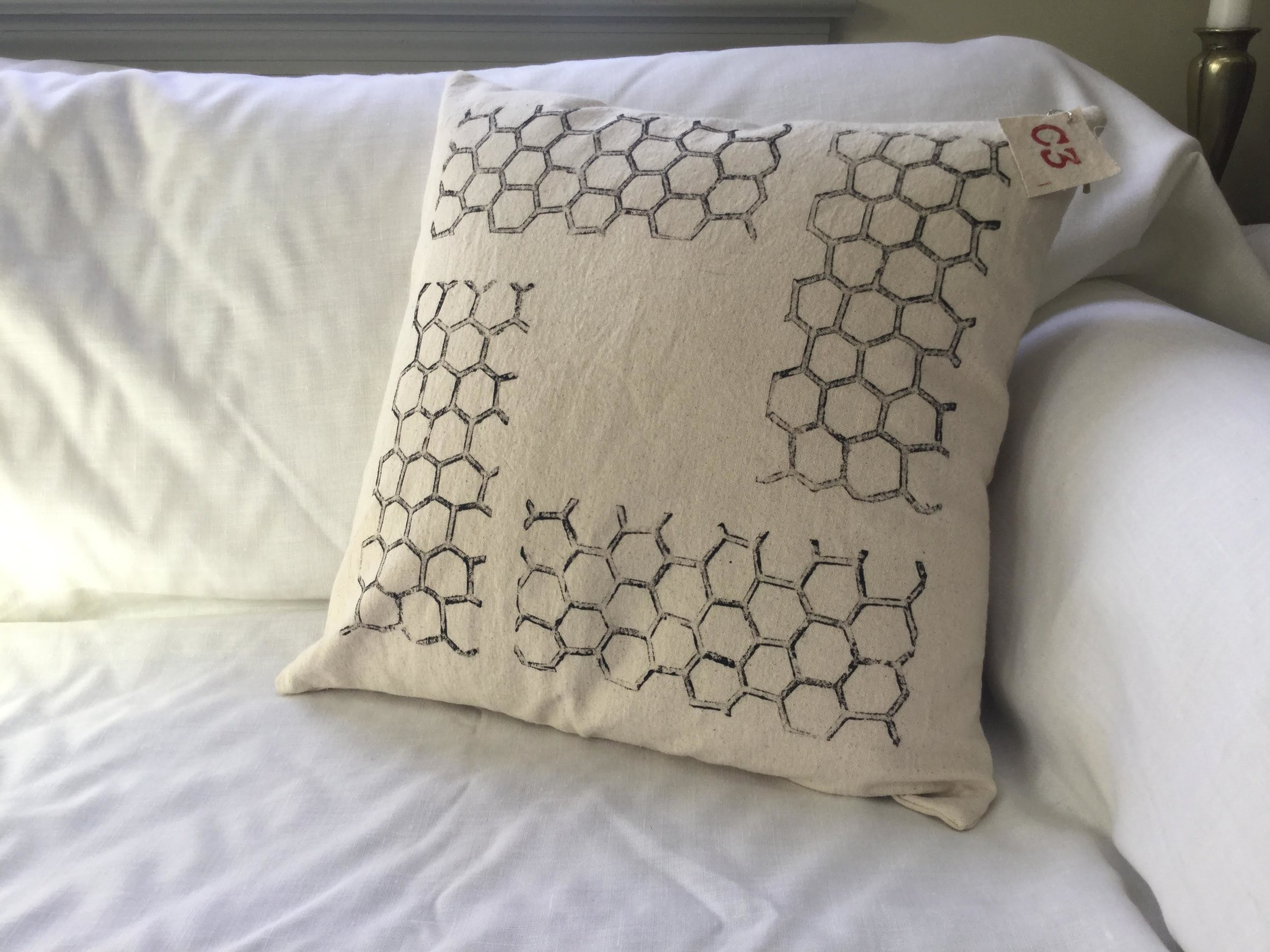 "Honeycomb, block printed, on canvas, pillow, 18"" x 18"" - Made to Order: $40.00"