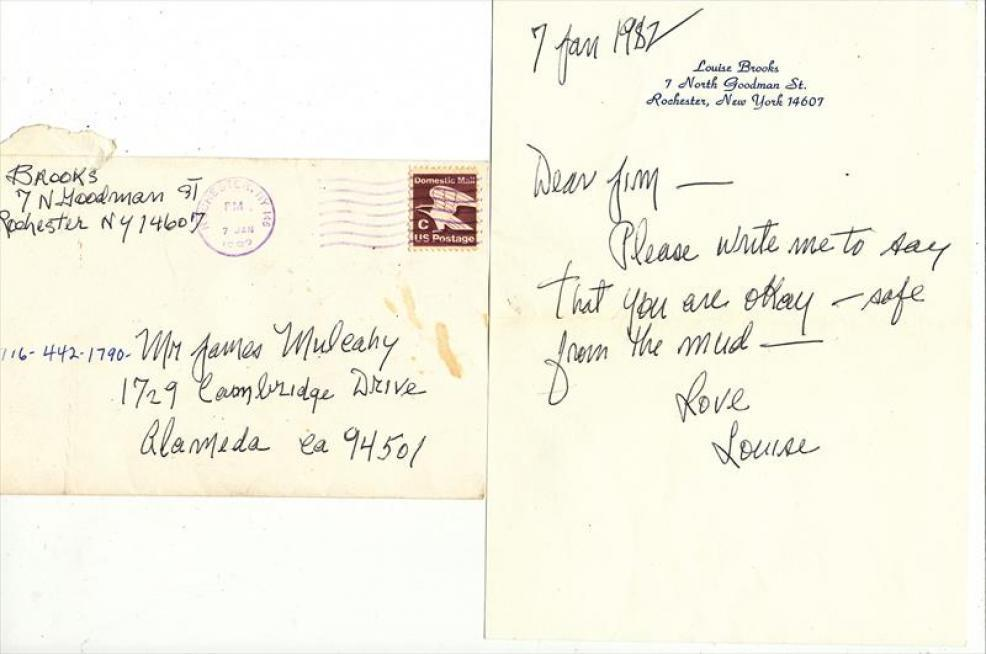 Letter from Louise Brooks to James Mulcahy, courtesy of  Louisebrooks.com