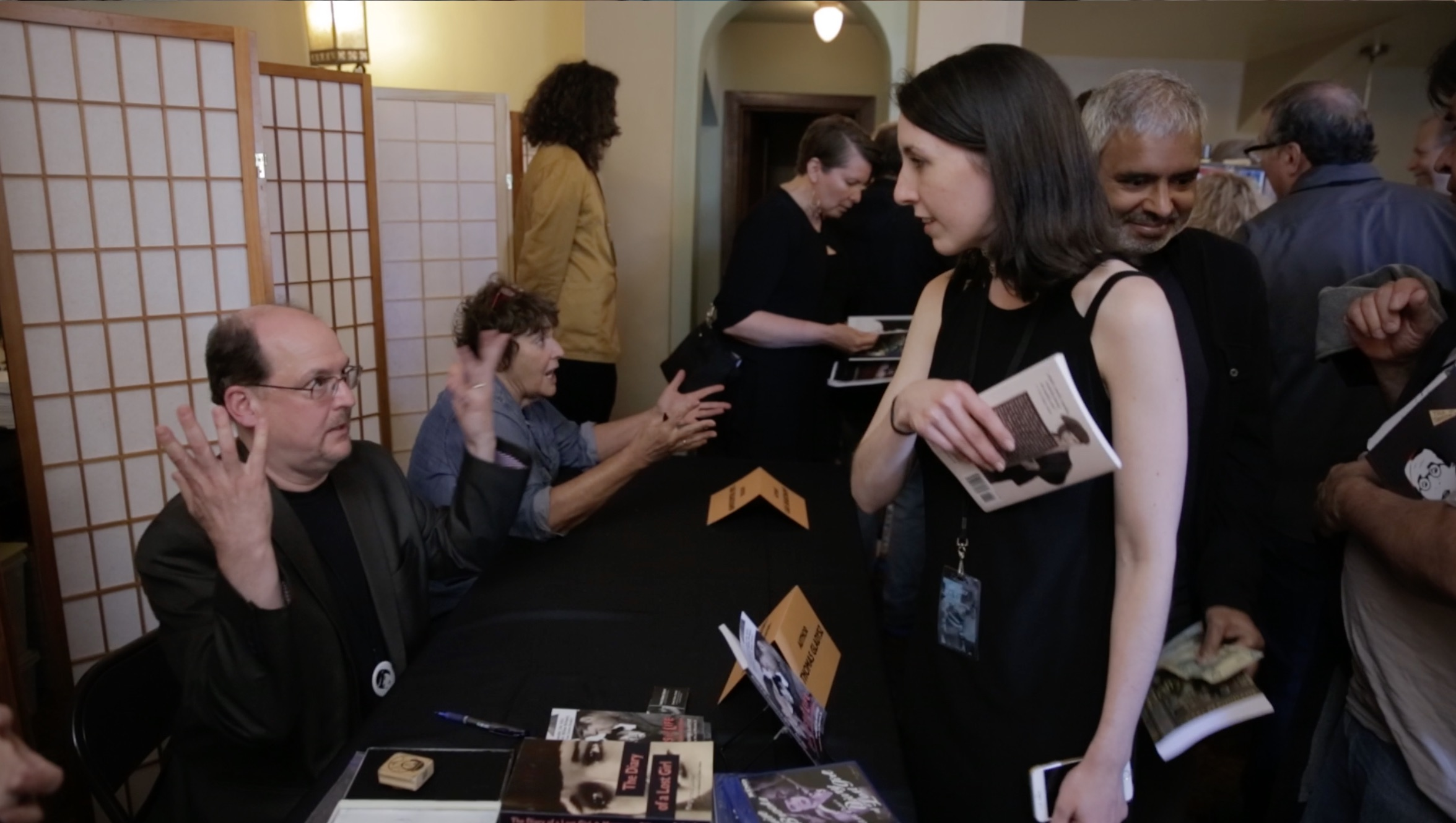 Thomas Gladysz and Charlotte Siller at his book signing after the film screening, celebrating the release of his new piece called  Beggars of Life: A Companion to the 1928 Film.