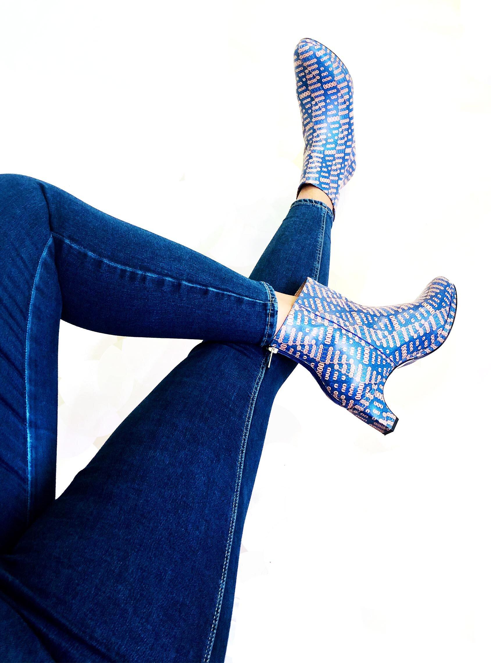 dr. Liza bootie ANKARA blue legs.jpg