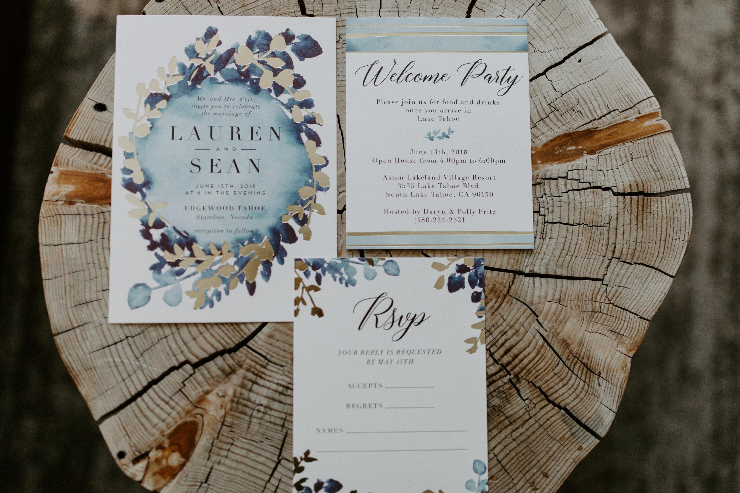 Tahoe Wedding Ivitation