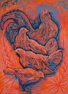 Rooster-  £100.00            Click here to buy this print    A plywood print - 26 cmx  36 cm  Edition 3/8