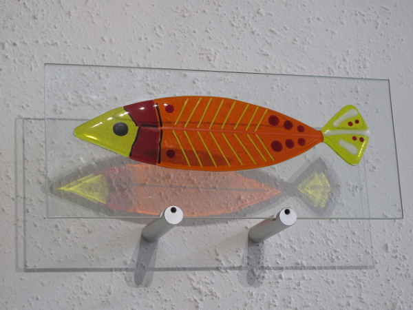 Amber Fish-  £142.00 (ex brackets)  -   ENQUIRE NOW     37cm x 15cm-  fused glass on clear glass pane   Each piece comes with it's own custom made wooden free standing base  The wall mounting brackets can be supplied for an additional cost