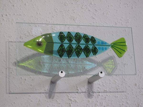 Green Fish-  £142.00 (ex brackets)  -   ENQUIRE NOW     37cm x 15cm-  fused glass on clear glass pane   Each piece comes with it's own custom made wooden free standing base  The wall mounting brackets can be supplied for an additional cost