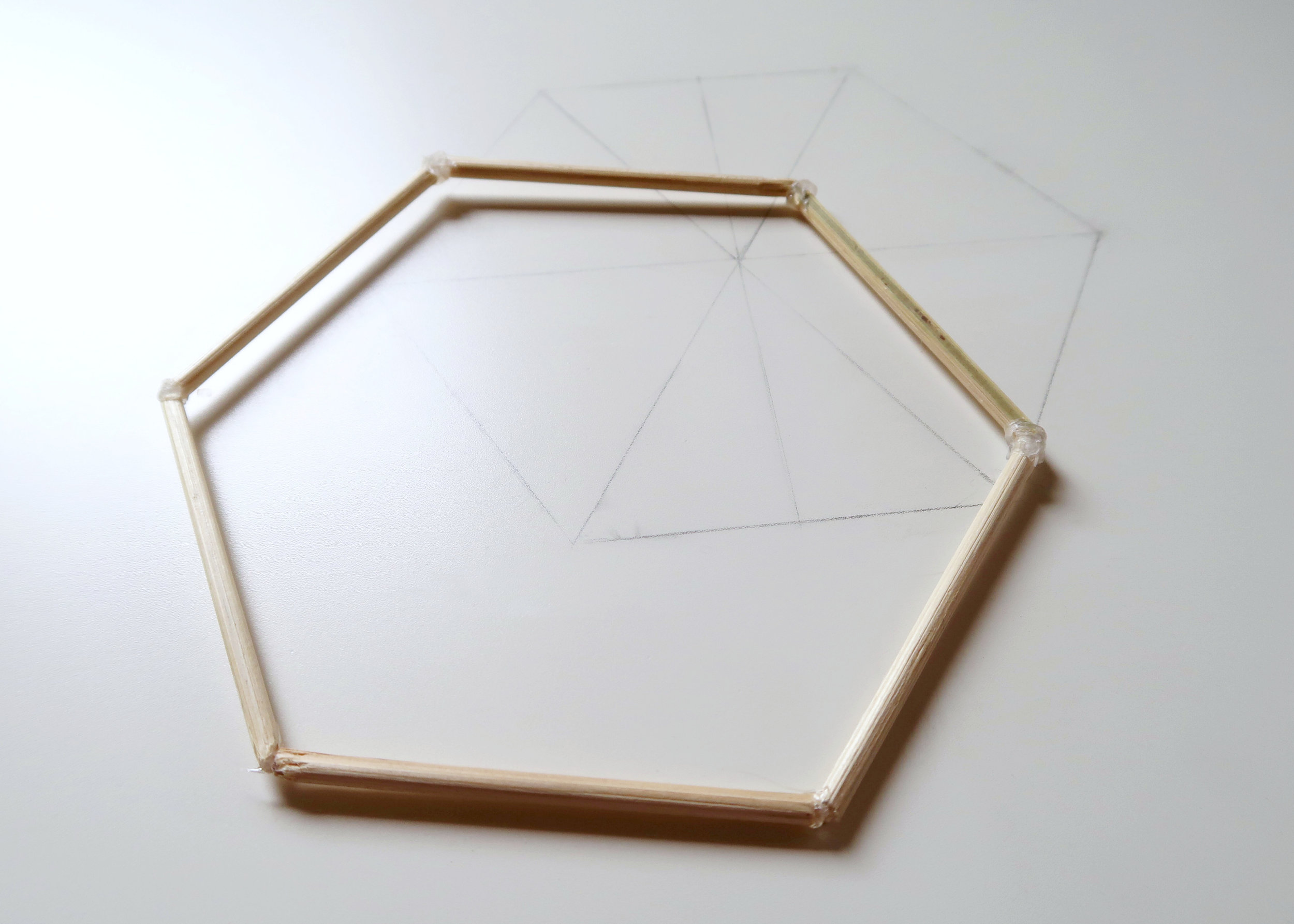 3. - Repeat this process all the way around until you have closed the shape and have a nice sturdy hexagon with 6cm sides. You'll need two hexagons of this size, as these will form the top and bottom of the light shade so once you've done one, crack on with another!