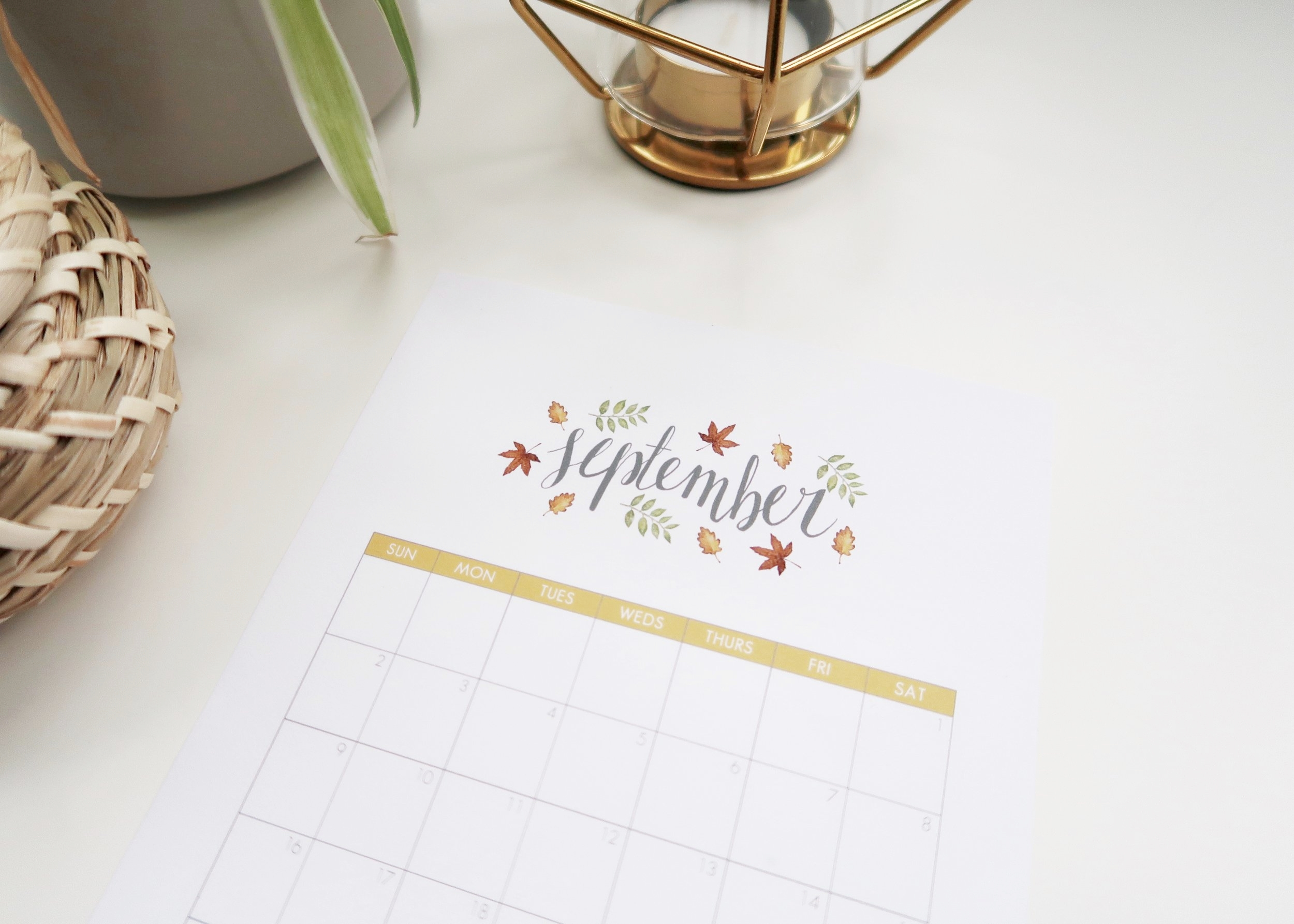 Printable September 2018 Calendar - Isoscella
