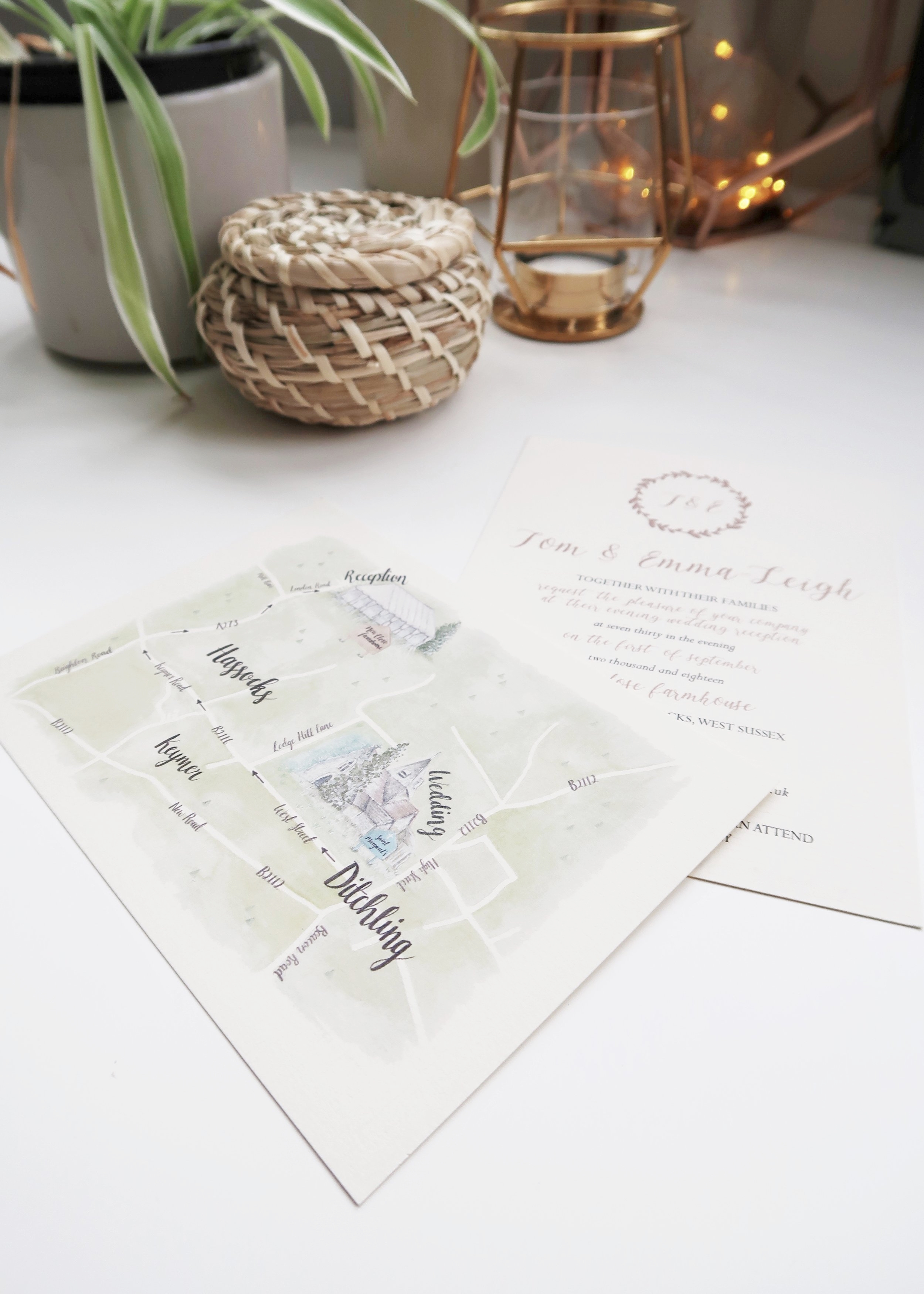 Whimsical Watercolour Wedding Map by Isoscella