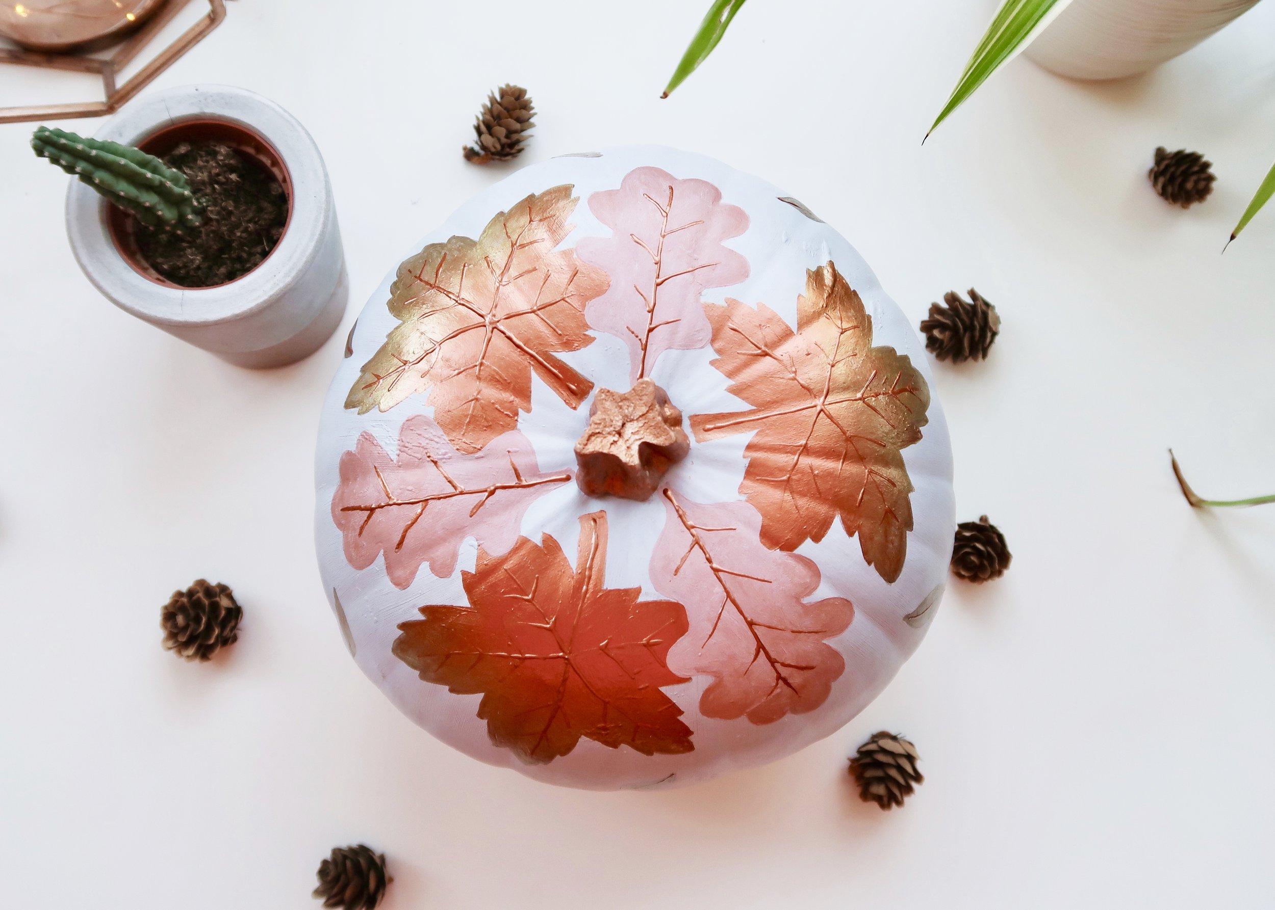 DIY Falling Leaves No-Carve Pumpkin by Isoscella