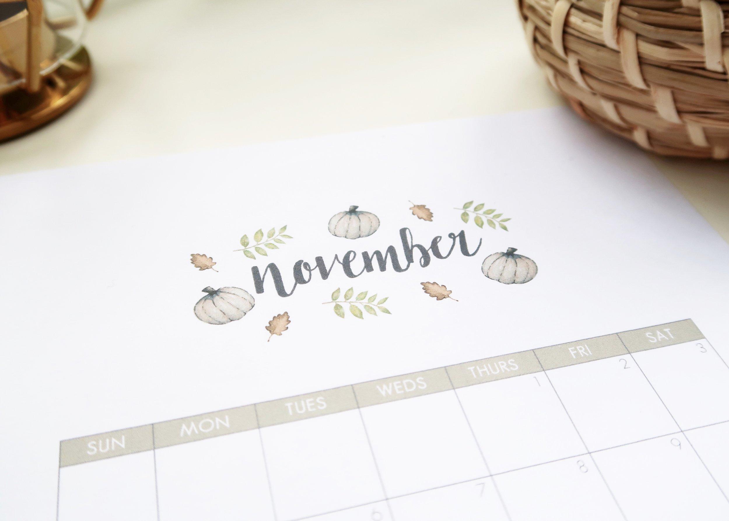 Printable November 2018 Calendar by Isoscella