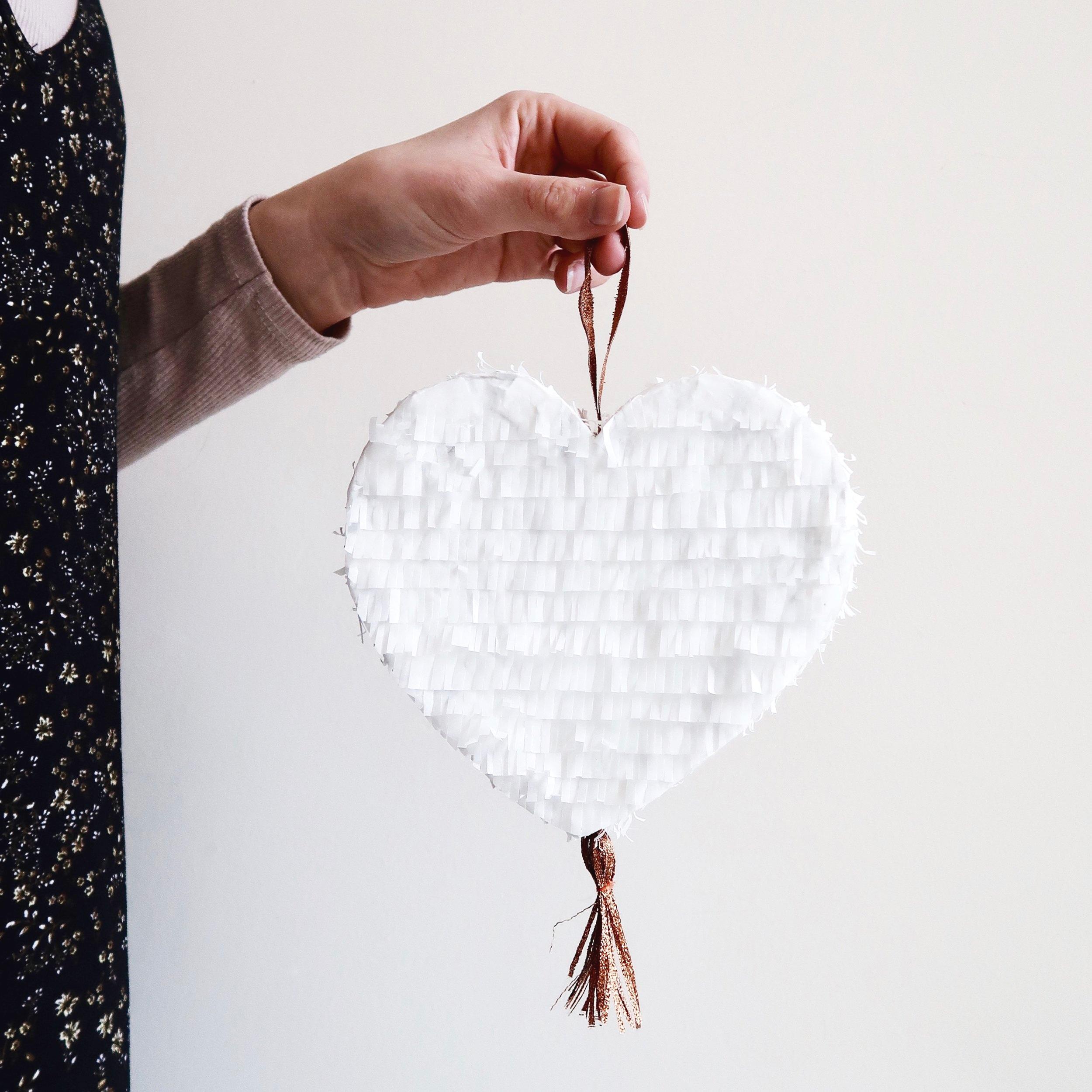 6. - DIY White & Copper Heart Pinata