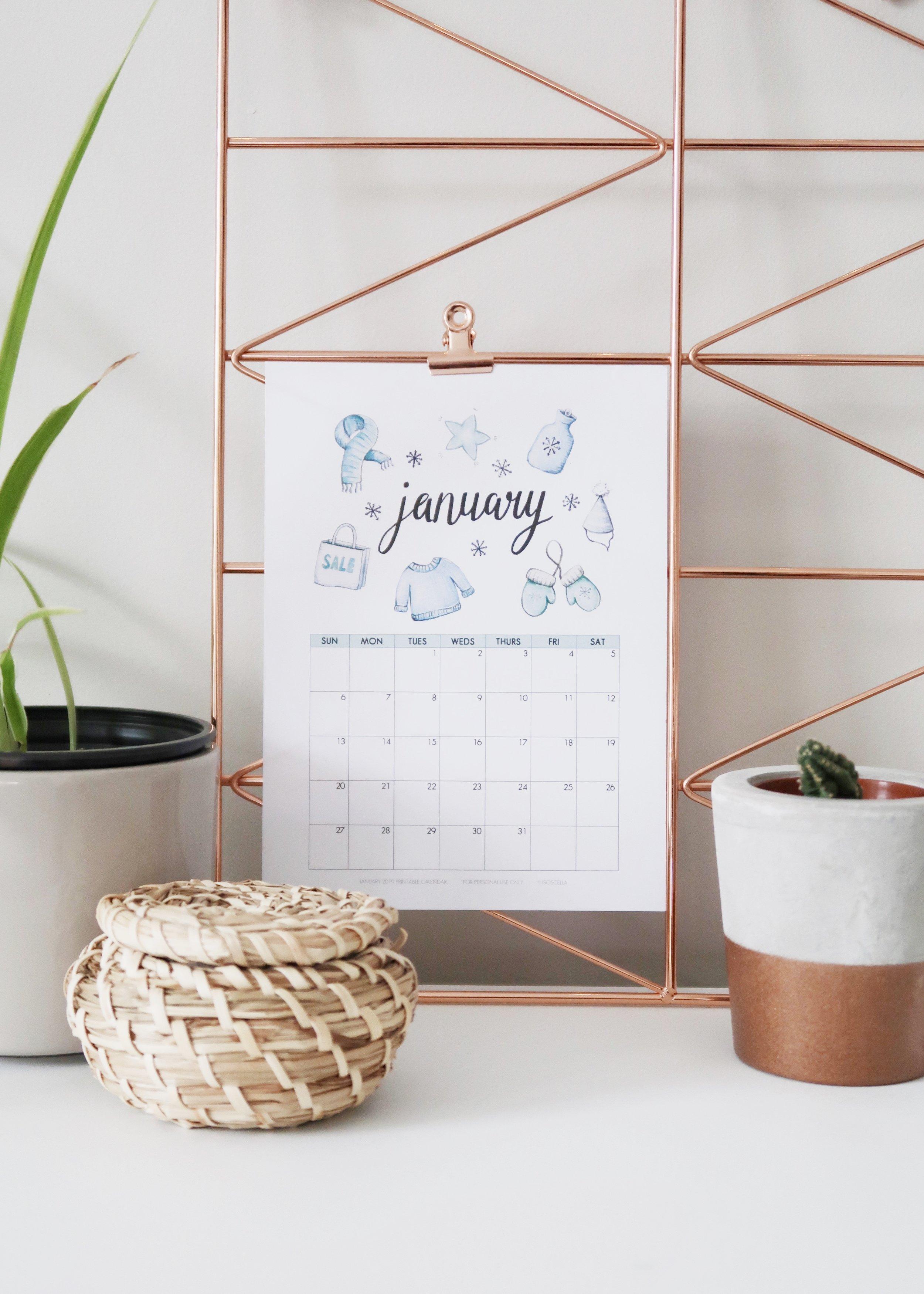 New Illustrated January 2019 Calendar (+Free Printable) by Isoscella