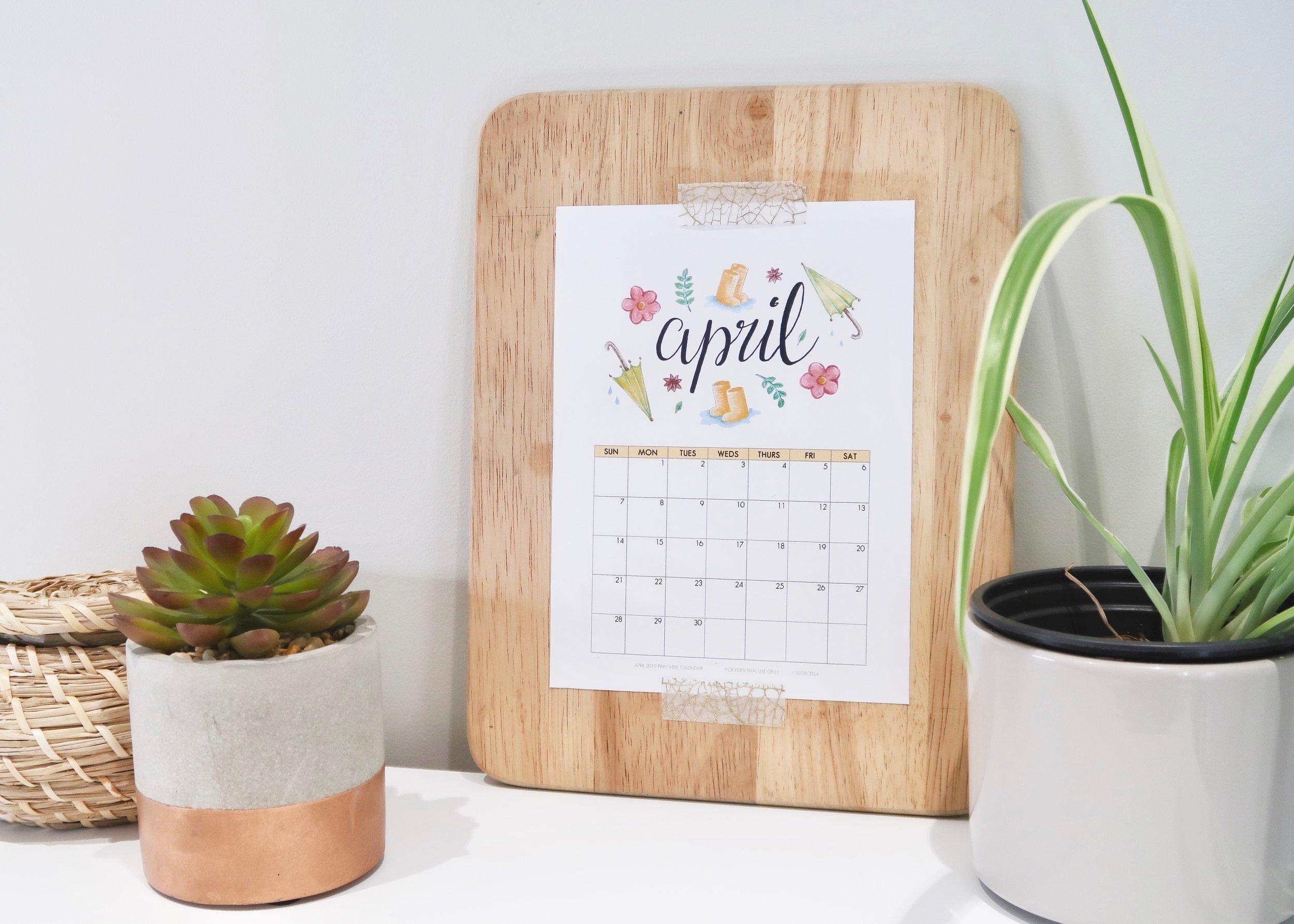 Illustrated April 2019 Calendar by Isoscella