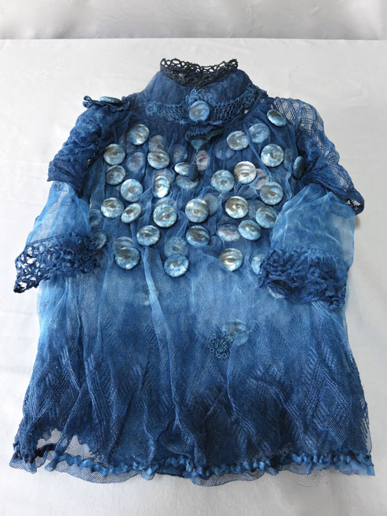 Forget Me Not  2016 indigo dyed antique textiles:dyed digitally printed paper buttons