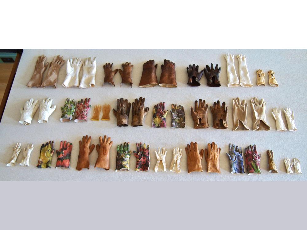 Garden Gloves in a Garden of Gloves  2014 Digital print on kid leather, hand stitched, antique doll gloves
