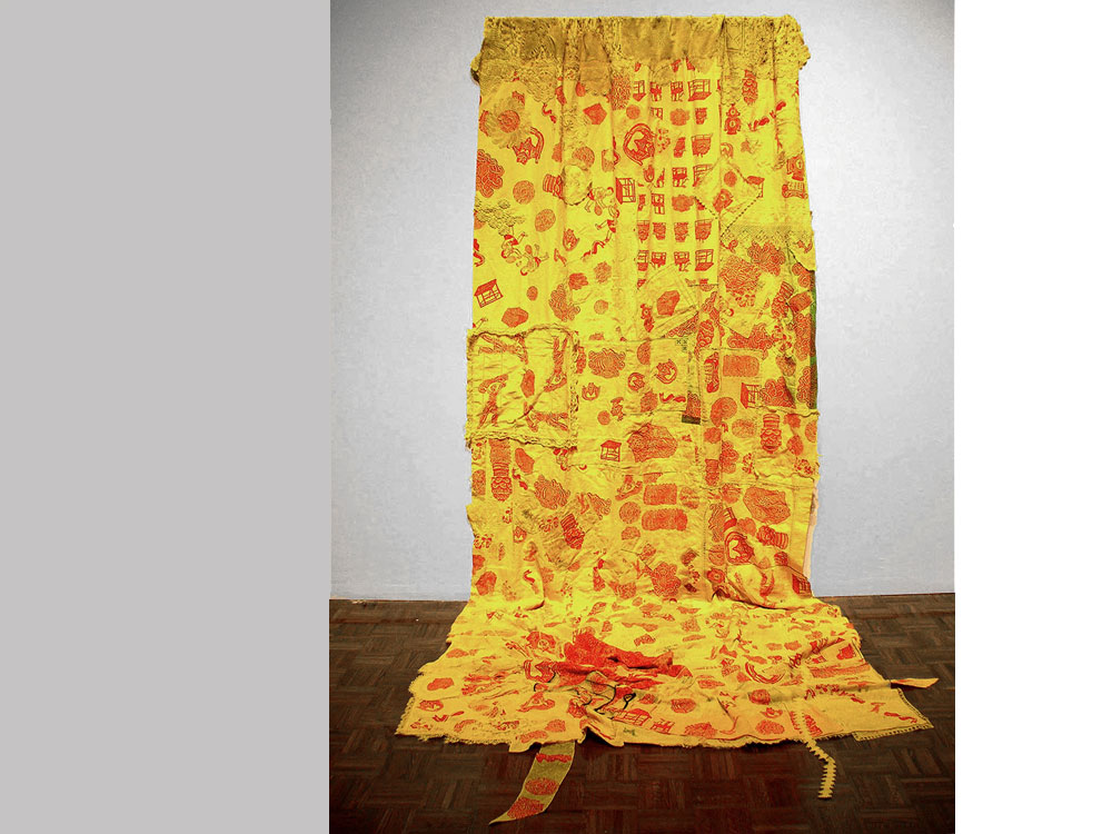 Curiosities: Dazed Gardens   2006 Screen-print on dyed antique/vintage textiles; hand-stitched