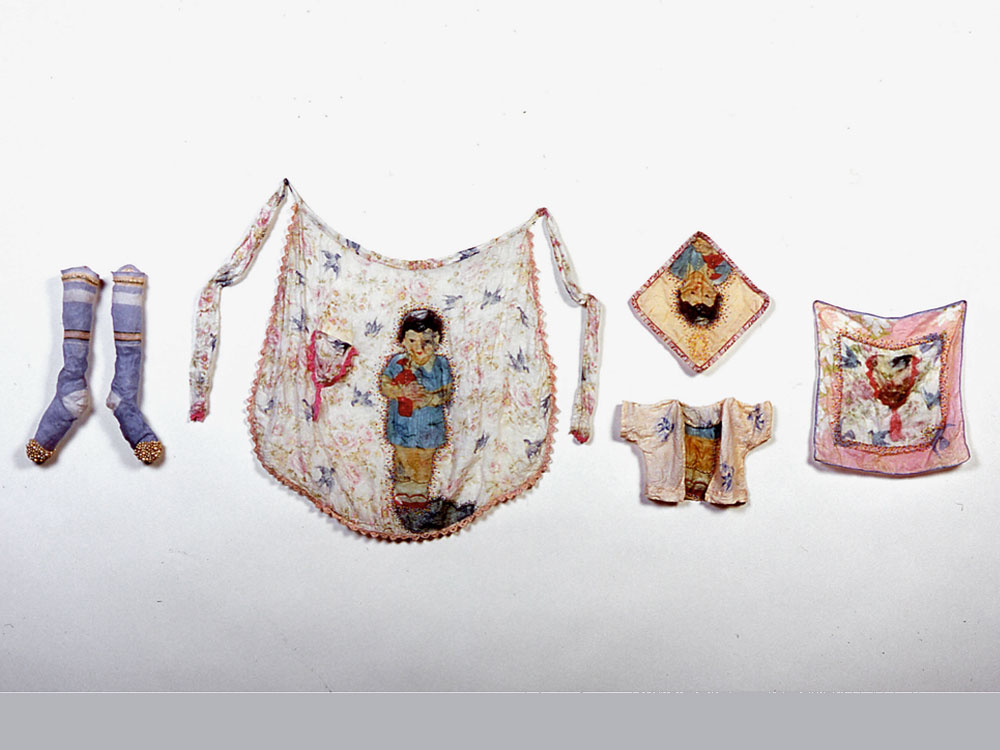Curiosities: Adorned  2004 Digital print on cotton organdy; stitched to vintage textiles, beaded, stiffened