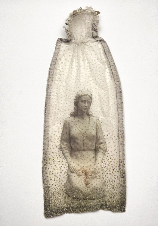 The Veil  antique textile, digital heat transfer, beads 1999