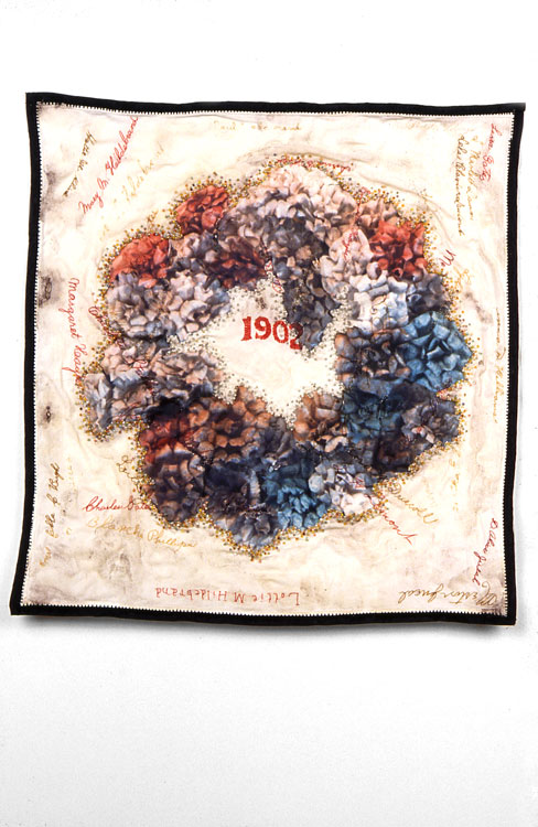 Mourning Hanky   antique textile, digital transfer, pigment, beads  1999