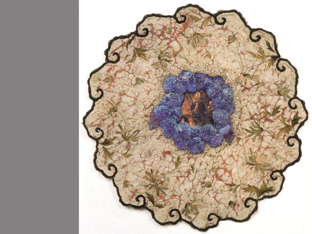 Fancy   1999 antique textile digital transfer resist dyed, beads