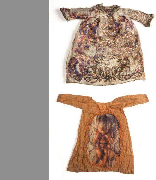 The Slip   2000 antique textiles digital transfers, beads
