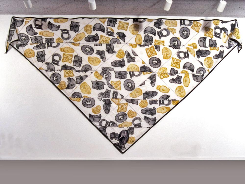 The Shroud   cotton muslin, screen-print, digital transfer, machine stitching, beads  1999