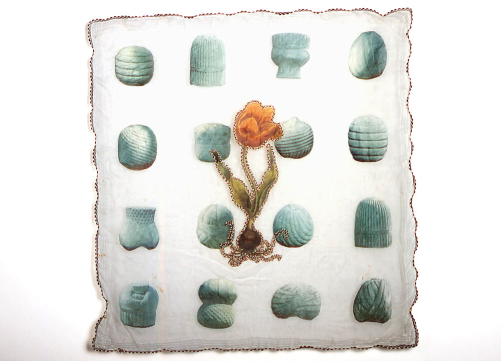 Tulipa: Yellow  antique textile, digital transfer, applique, beads 2003