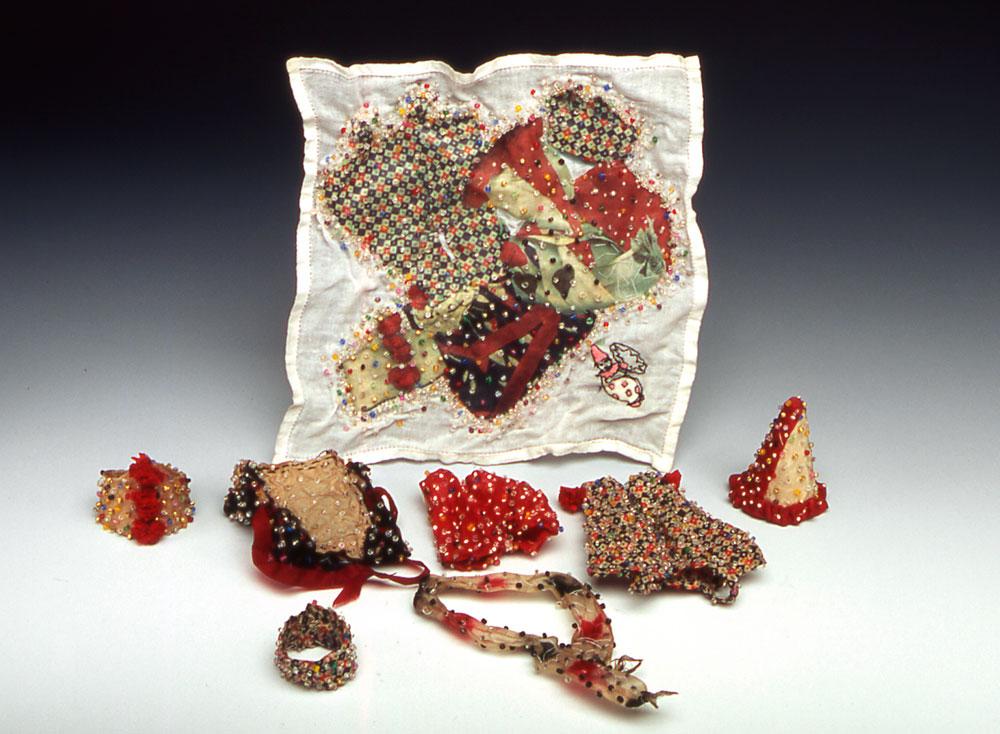 Pantaloon  antique textiles, digital transfer, pigment, beads  2003