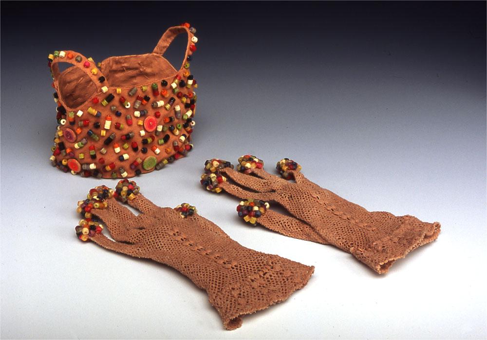 Curiosities: Festooned   antique textiles, dyed, pasta beads 2003