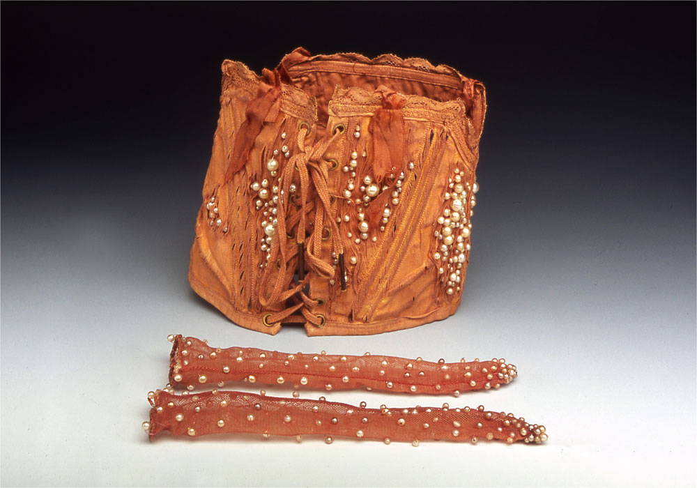 Curiosities: Garnished   antique textiles, dyed, beads  2003
