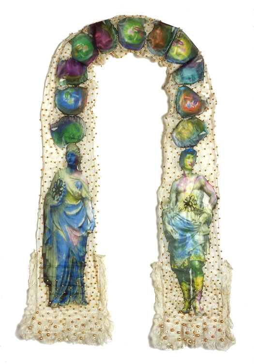 The Cravat  antique textile, digital transfers, pigment, beads  2002